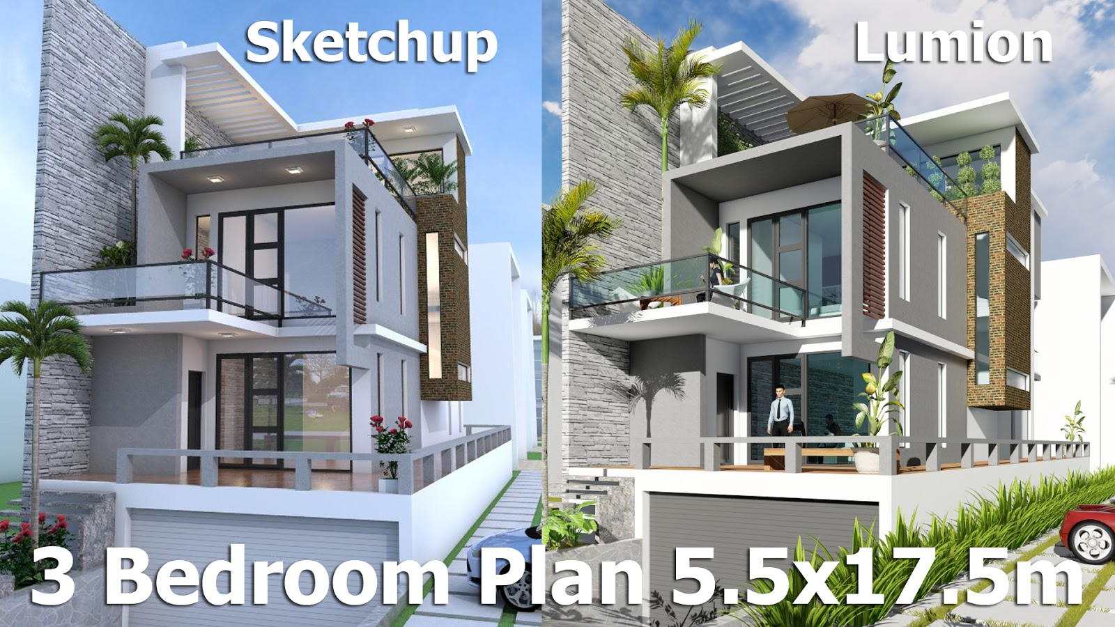 Sketchup modeling 3 stories exterior house design with for 3 story home plans and designs