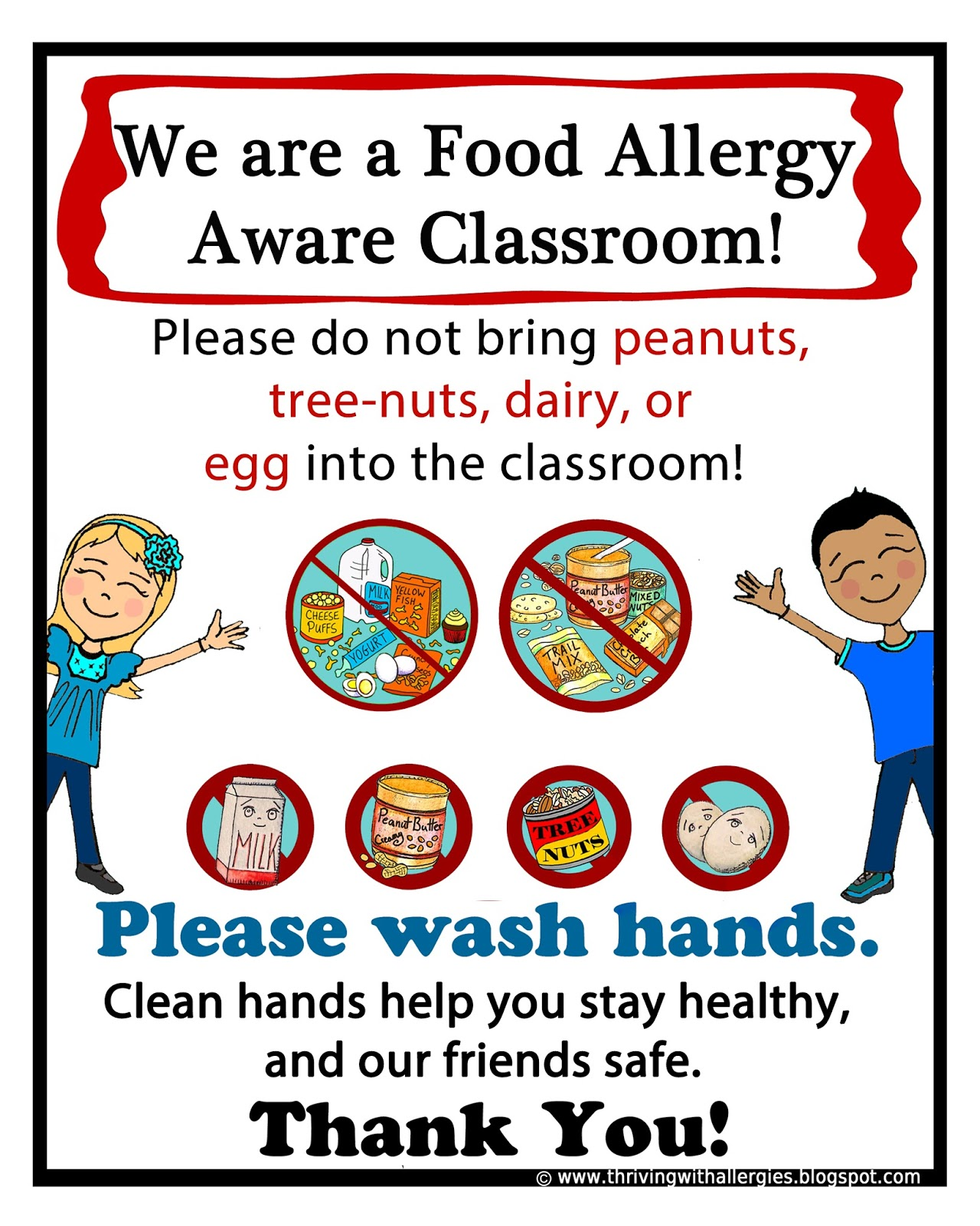 Thriving With Allergies Dairy Free Classroom Poster