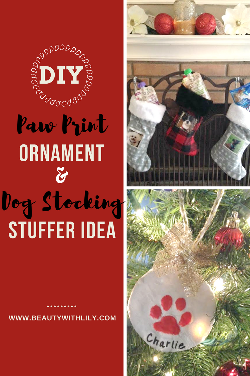 Dog Stocking Stuffer Idea + DIY Paw Print Ornament | beautywithlily.com