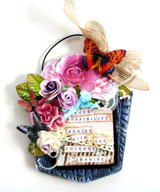 Resin Denim Pocket with Colorful Flowers and Butterflies