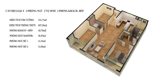 Thiết kế căn hộ loại F