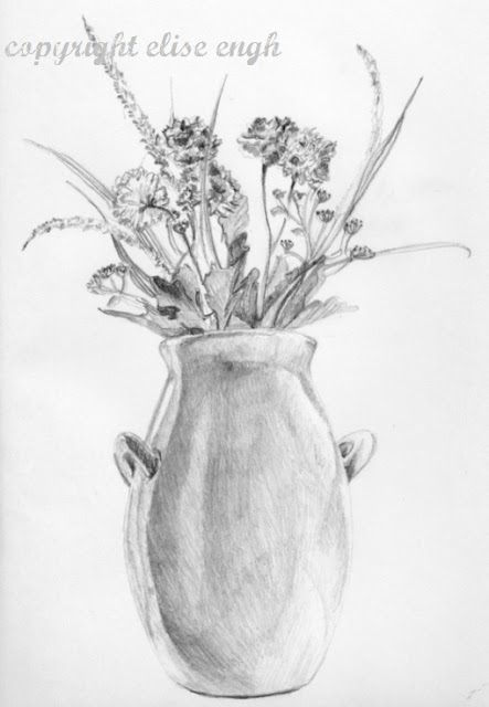 pencil drawing flowers in a vase