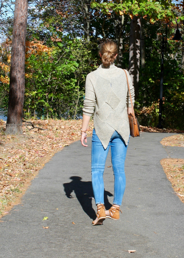 cross detail high low turtleneck sweater, ankle jeans and lace up espadrilles shoes