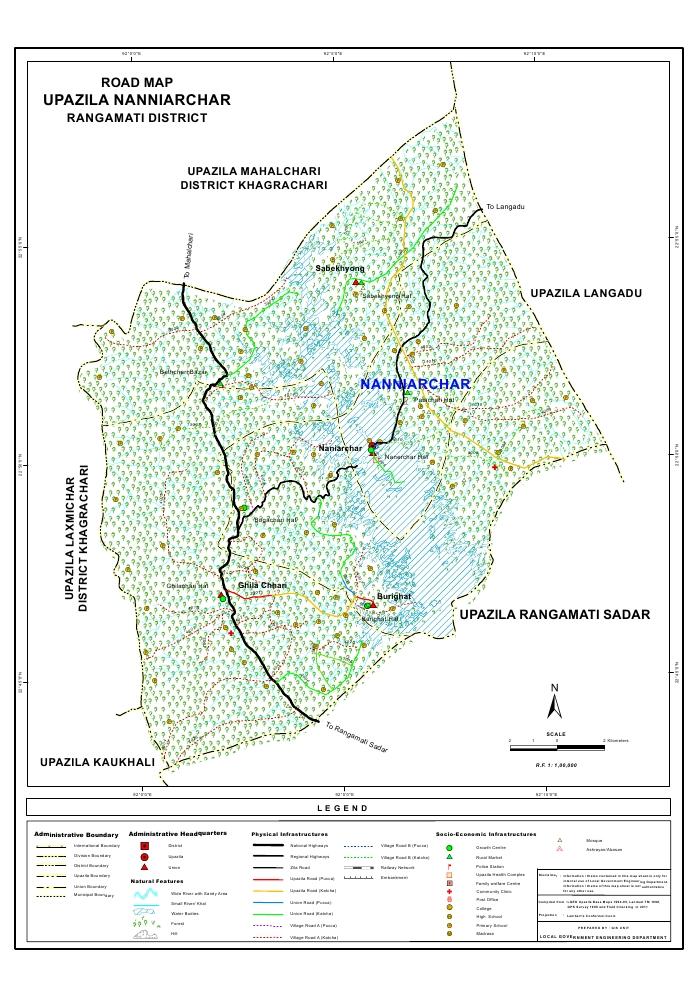 Naniarchar Upazila Road Map Rangamati District Bangladesh