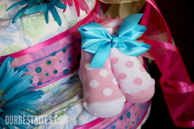 A beautiful Diaper Cake for Baby Shower