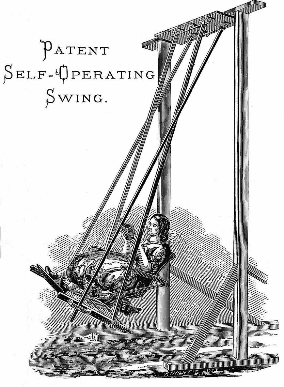 "an 1890 ""Patent self-operating swing"" catalog illustration"