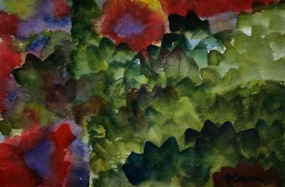 John Keese - Watercolor - Red Flowers