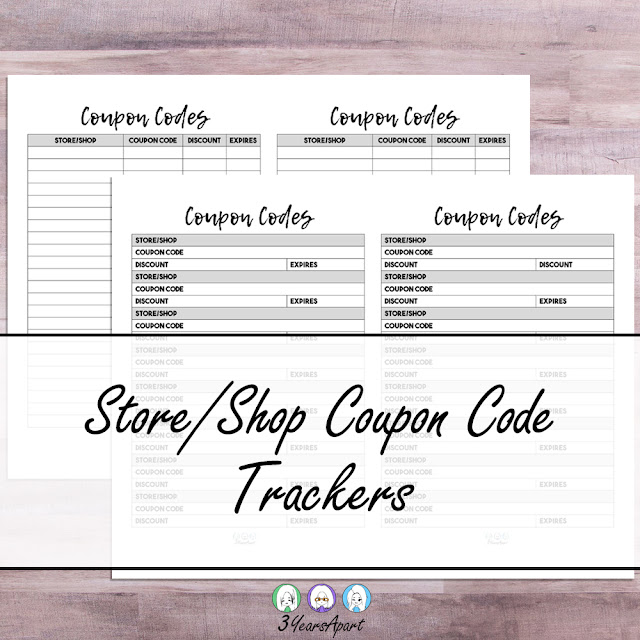 3 Years Apart Store and Shop Coupon Code Bullet Journal and Planner Tracker