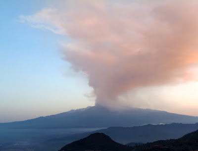 Mount Etna's eruption - view from Taormina