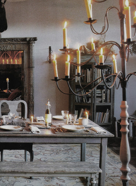 Maison Madame Figaro October 2001, eclectic dining room, edited by lb for linenandlavender.net, here:  http://www.linenandlavender.net/2009/10/room-without-books.html