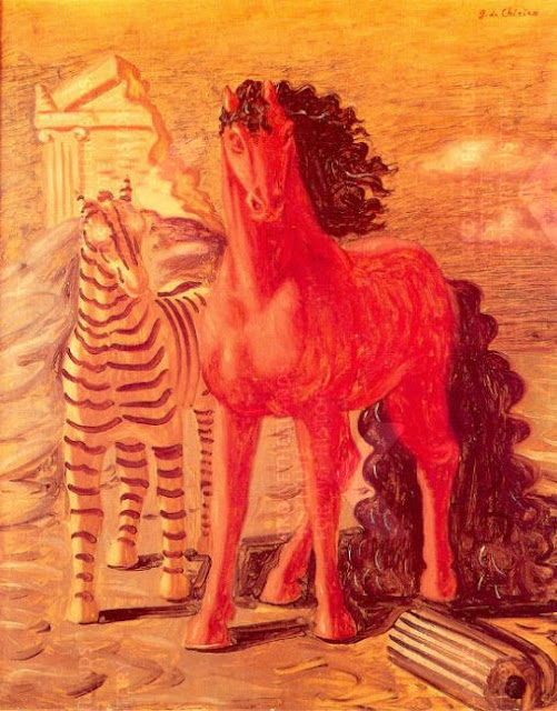 A long main pony with a zebra at a ruin, painted by Giorgio de Chirico