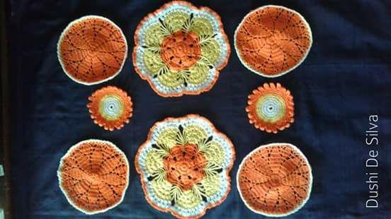 crochet-doily-orange-color-yarn-wool
