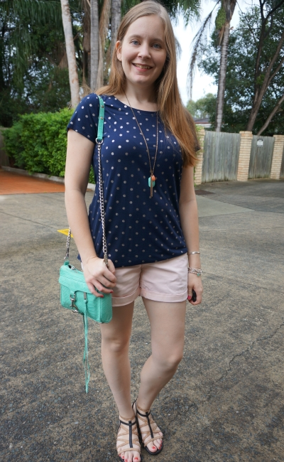 Jeanswest Flavia foil printed polka dot tee deep iris navy with pastel pink shorts aqua bag | away from blue