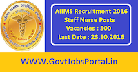 AIIMS Recruitment 2016 for 500 Staff Nurse Posts Apply Online Here