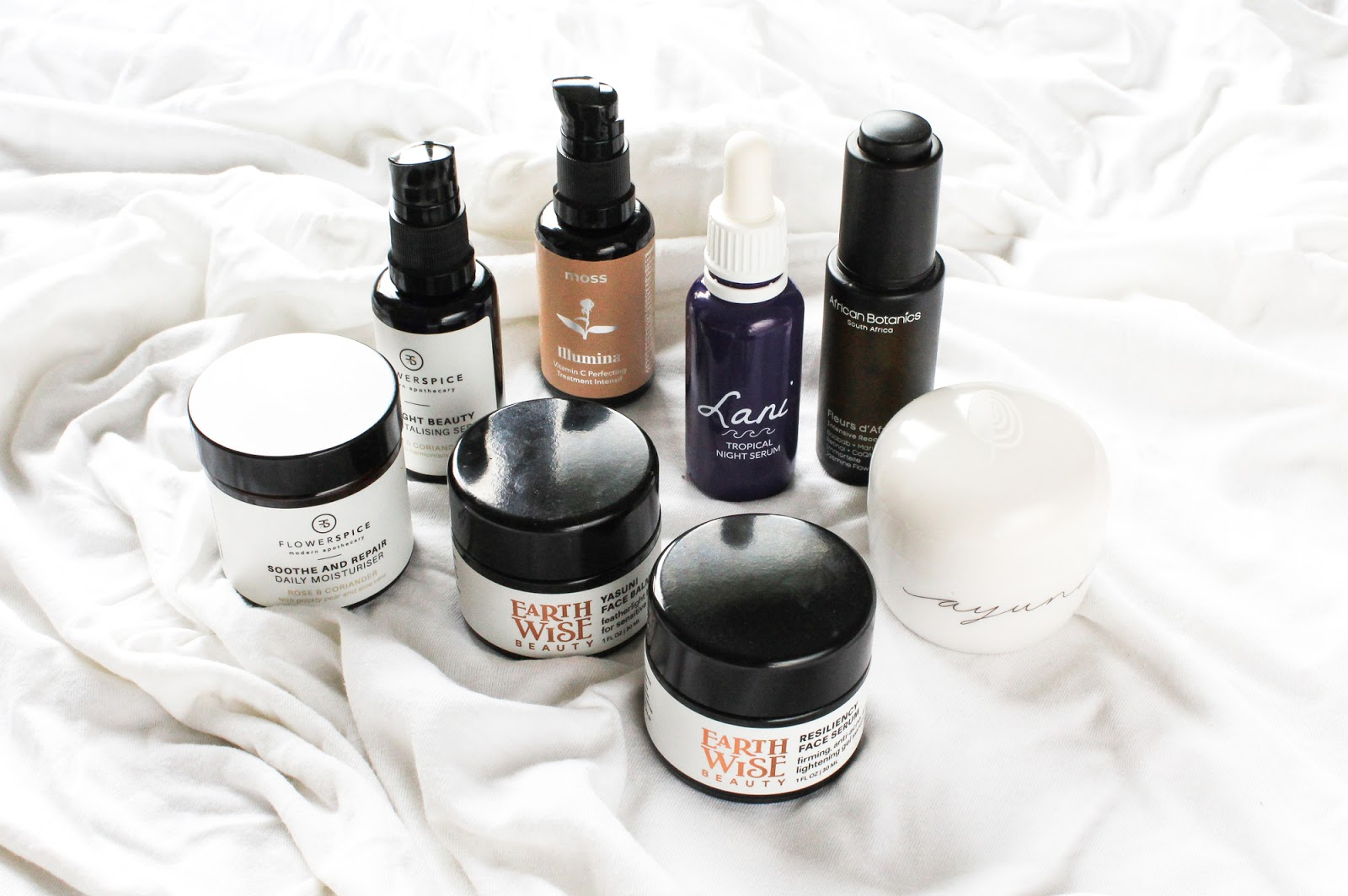 Evening Skincare Routine featuring Ayuna, Moss, Earthwise Beauty, Flower and Spice, African Botanics, Lani