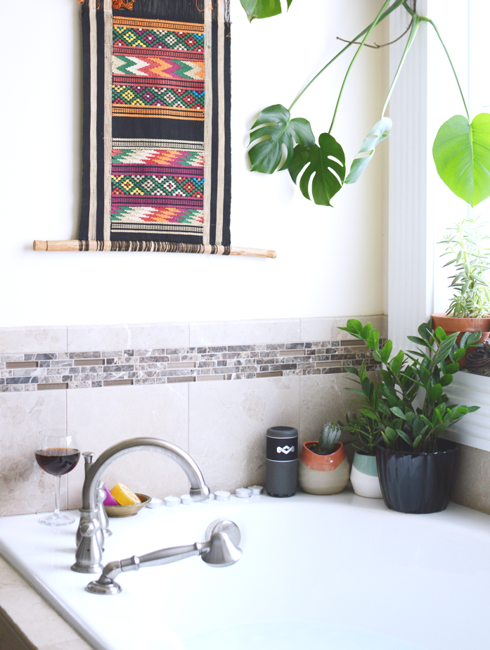 Bath time with plants and music