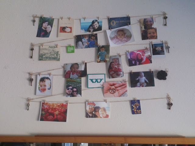 DIY photo display using twine and clothes pins