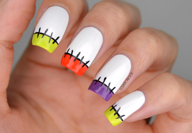Halloween Stitches French Manicure Nail Art