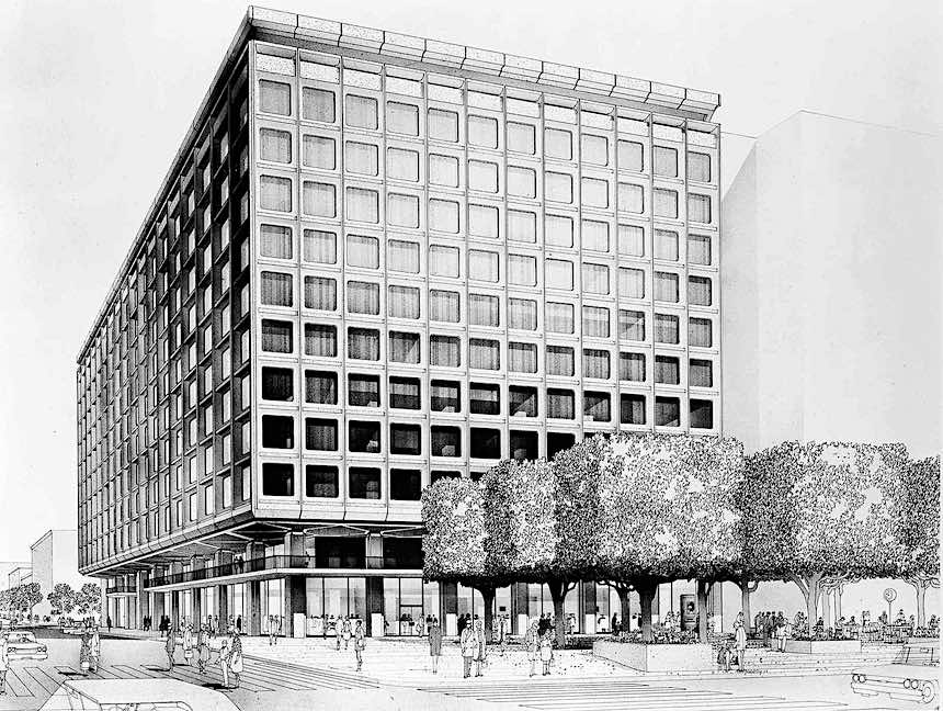 Brutalist architecture 1968, drawing