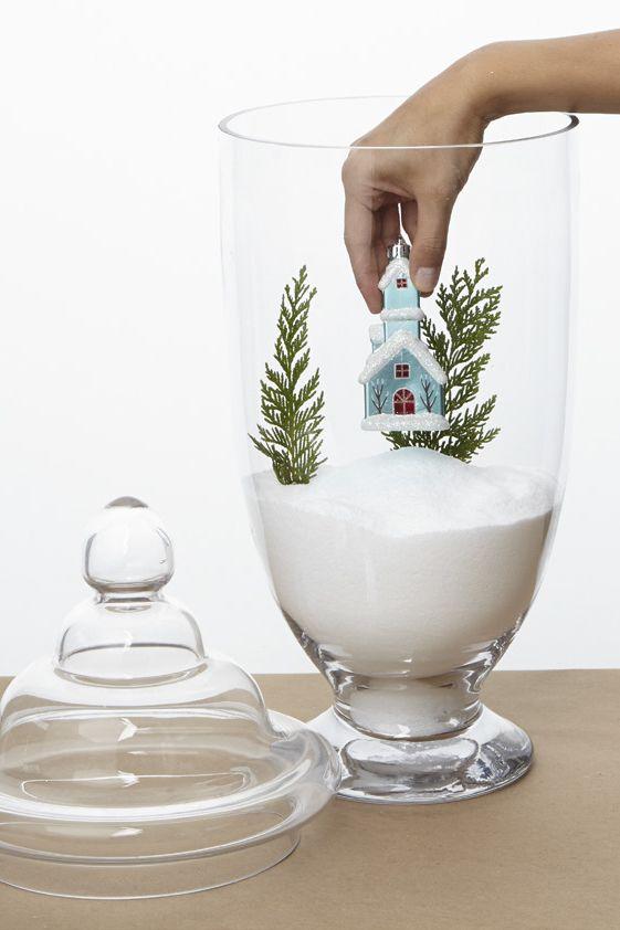 Decoracion DIY Navidad: Jarro cristal sal nieve
