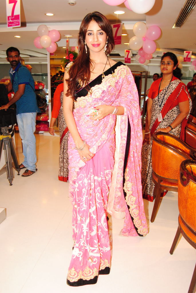 Sparkling hot Sanjana at neerus 7th anniversary in pink saree