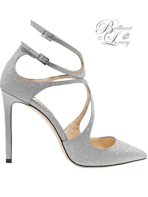 Jimmy Choo Lang sparkling glittered silver leather pumps #brilliantluxury