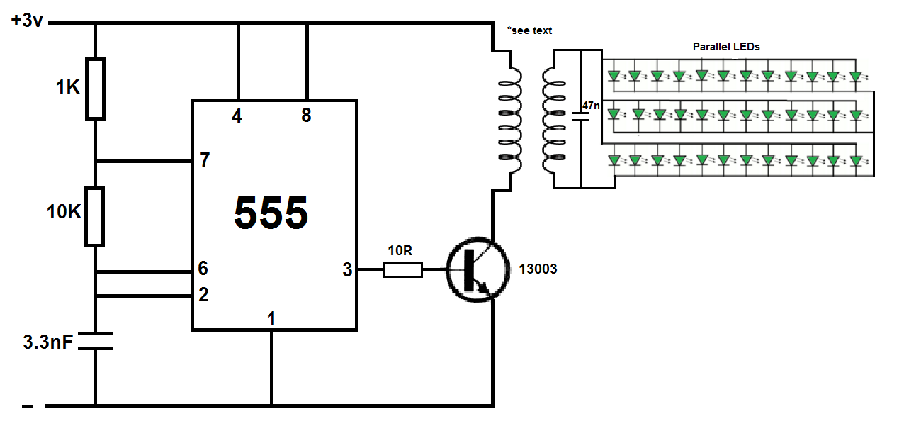 wireless power transmitter using ic555