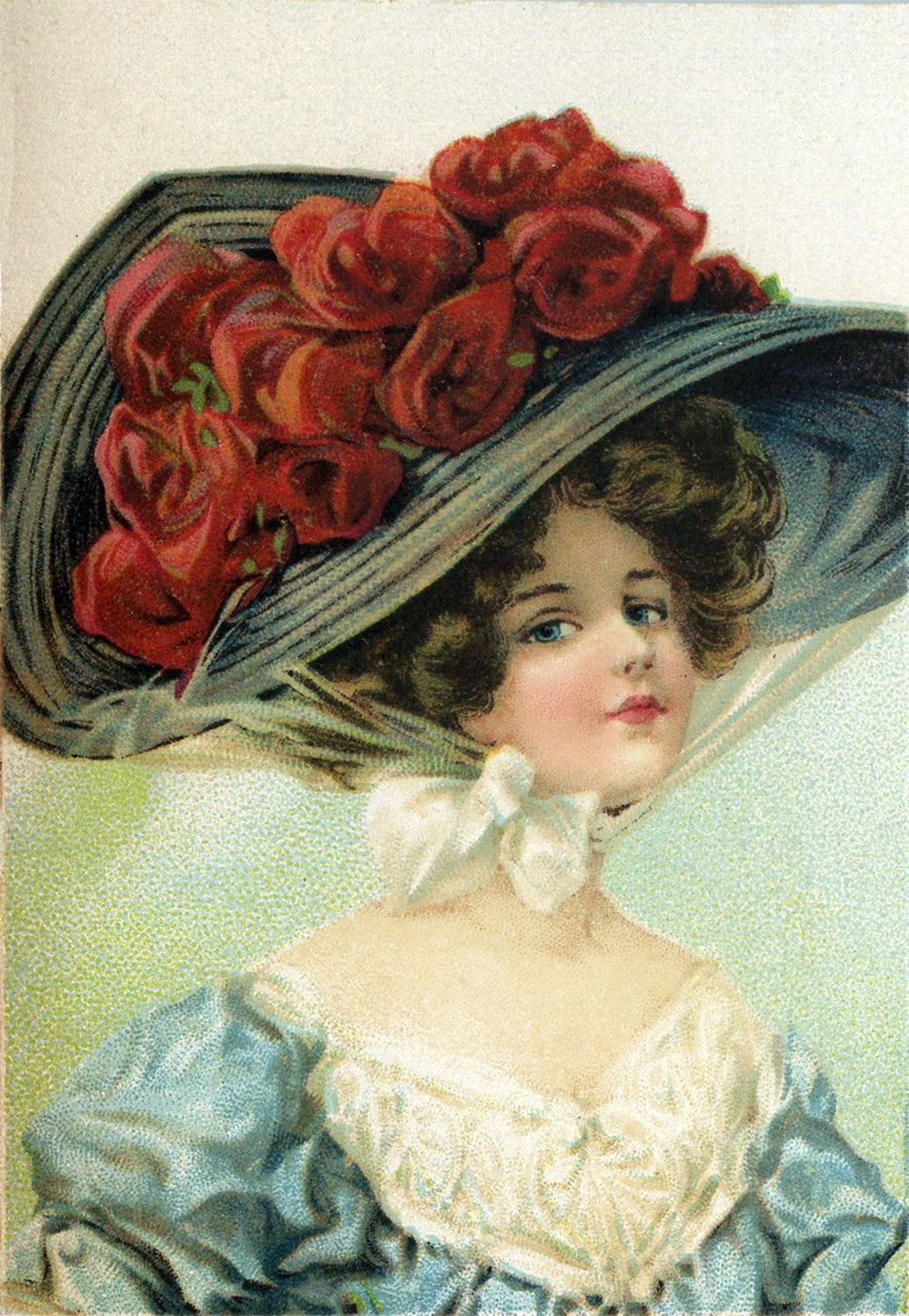 Victorian woman with large hat filled with red roses