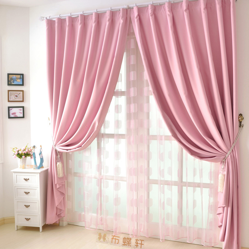 Good Quality Solid Girls Cheap pink curtains