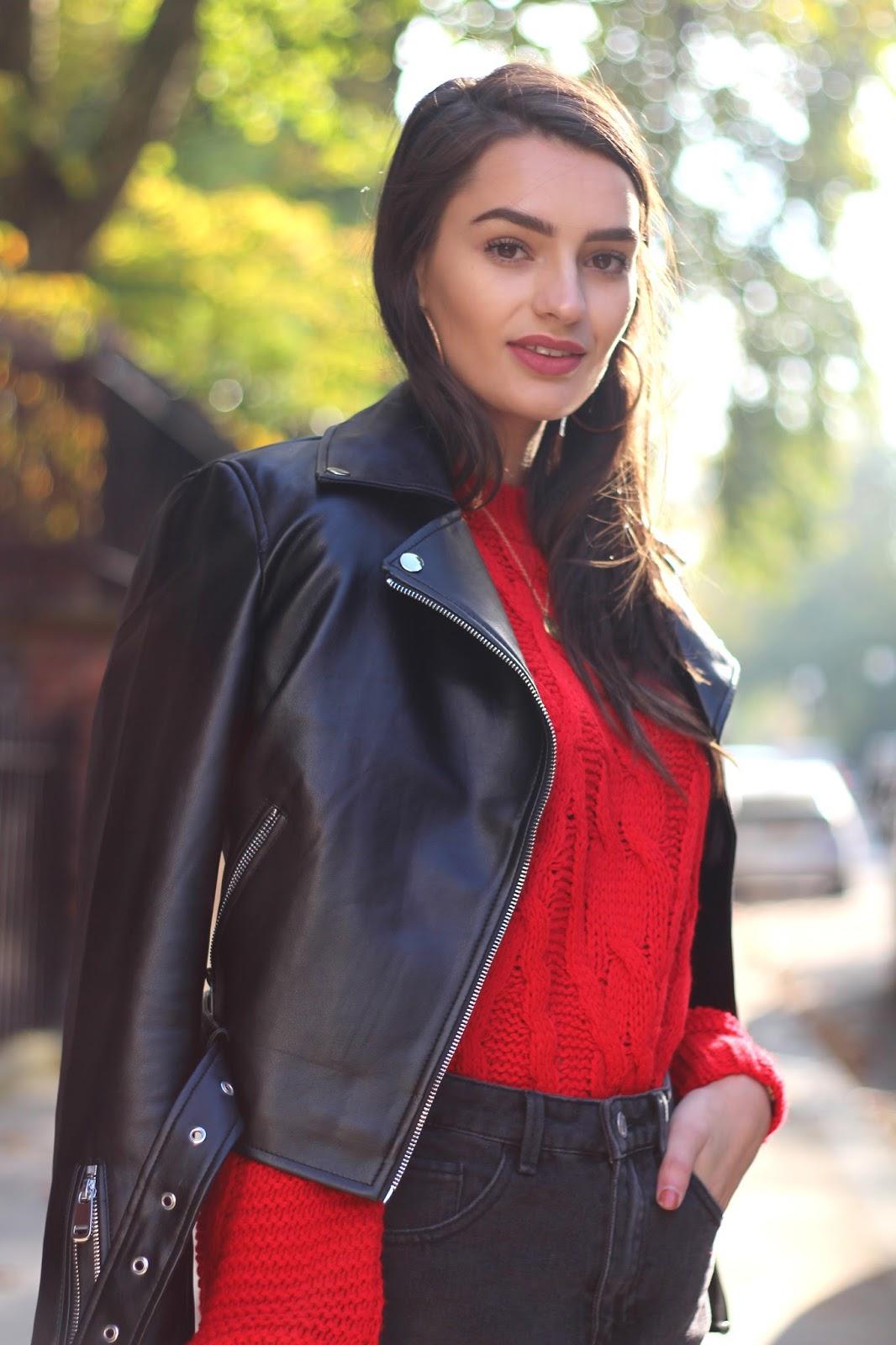 miss selfridge red jumper peexo autumn style
