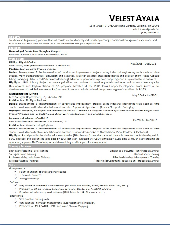productivity and operational excellence sample resume format in word free download