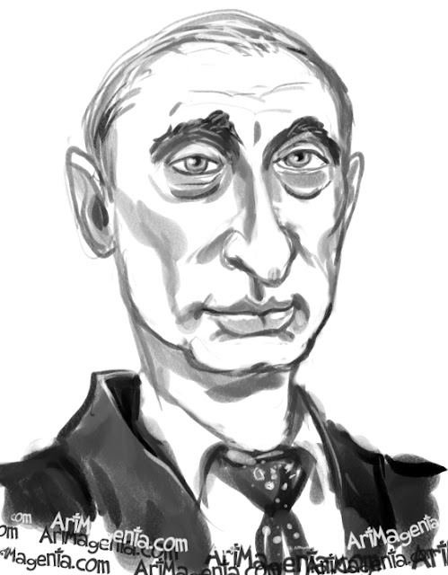 Putin caricature cartoon. Portrait drawing by caricaturist Artmagenta.