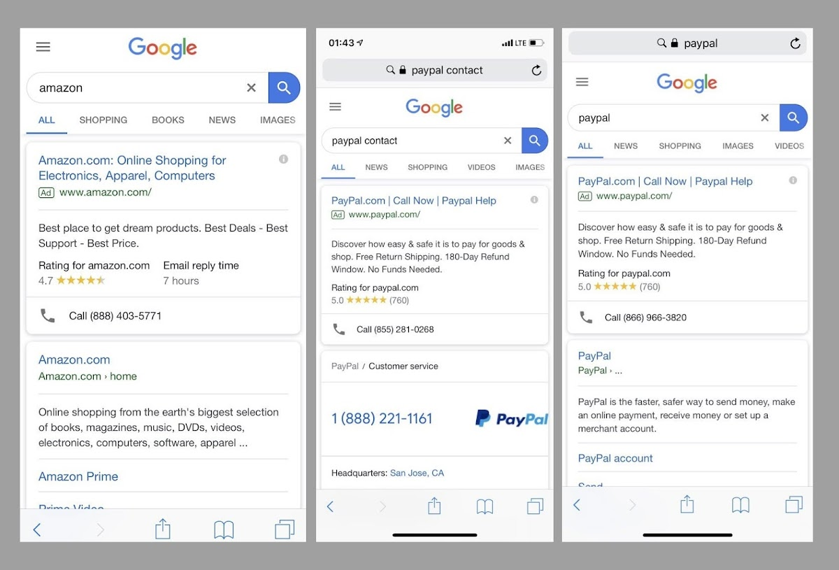 Hackers get hold of PayPal and Amazon clients through Google Search Ads