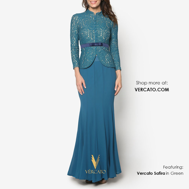 Baju Kebaya Lace with Bow Detail - Vercato Safira in Green