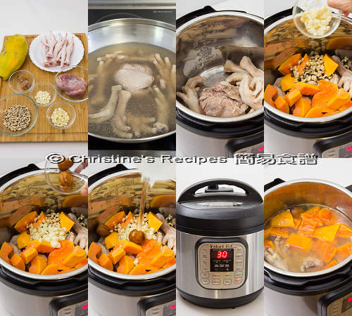 紅木瓜雞腳豬展湯 Pawpaw and Chicken Feet Soup Instant Pot Procedures