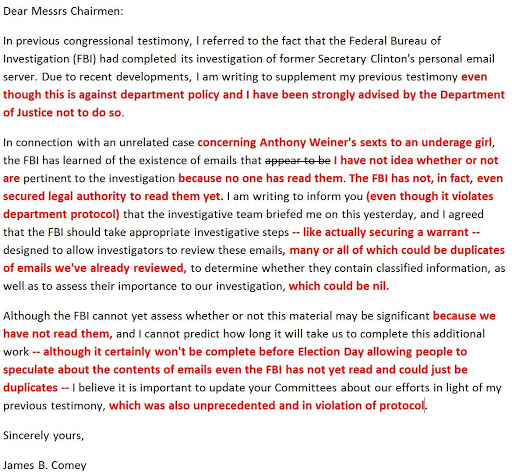 The randy report thinkprogresss judd legum fixes comey letter in light of the low on substance high on innuendo letter from fbi director james comey to members of congress regarding the discovery of emails which spiritdancerdesigns Gallery