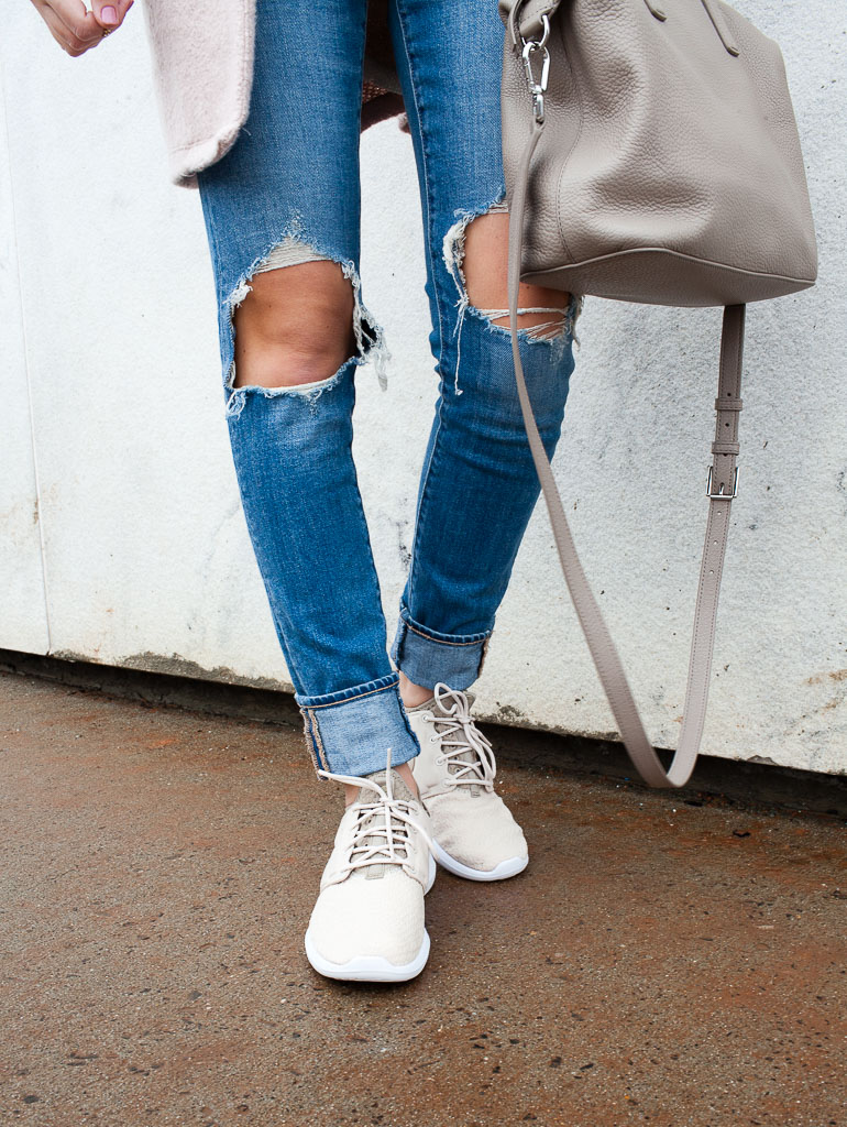 Casual weekend wear - distressed skinny jeans, sneakers and a comfy tee.