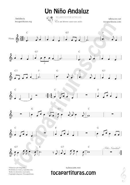 Flauta Travesera, flauta dulce y flauta de pico Partitura de Un Niño Andaluz Sheet Music for Flute and Recorder Music Scores