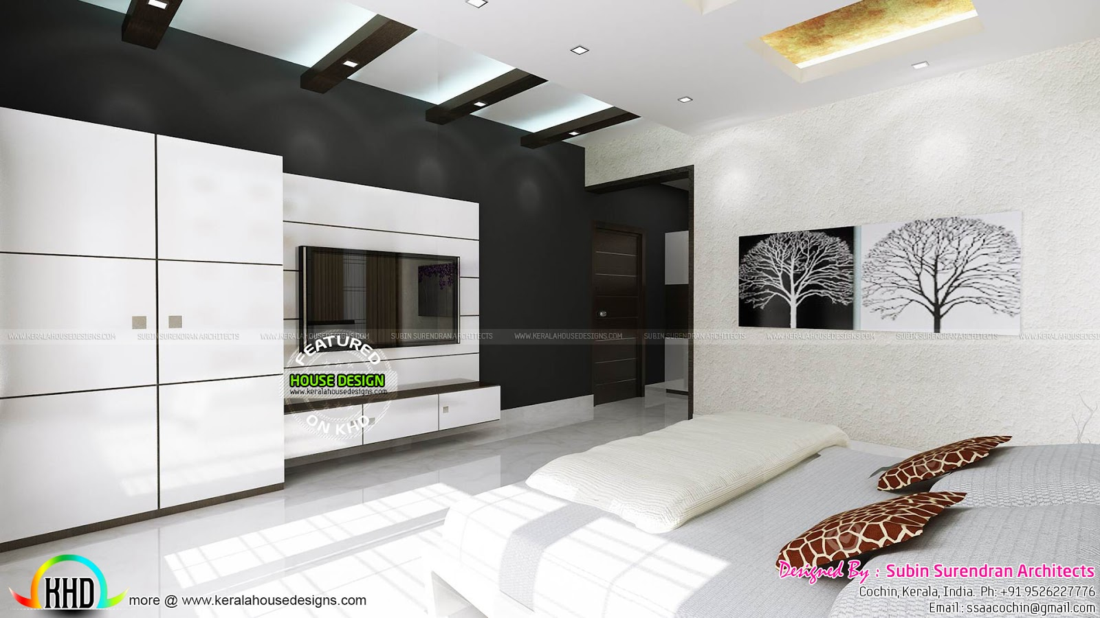 Master bedrooms dining home theater interiors kerala First floor master bedroom