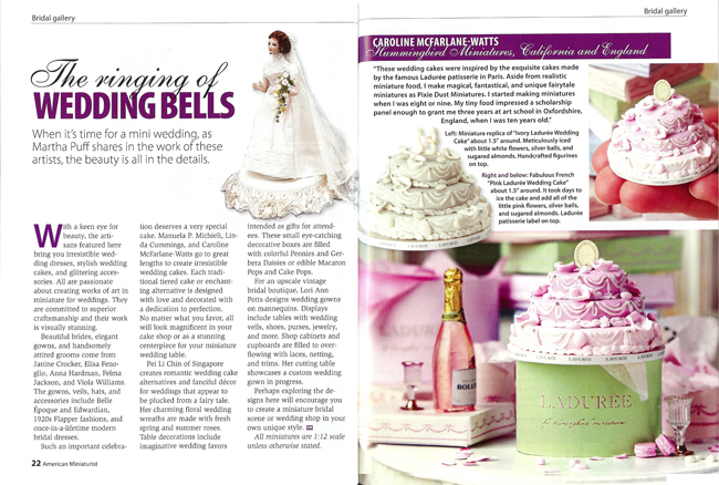 wedding cakes a design source magazine hummingbird miniatures wedding cake feature in american 23766
