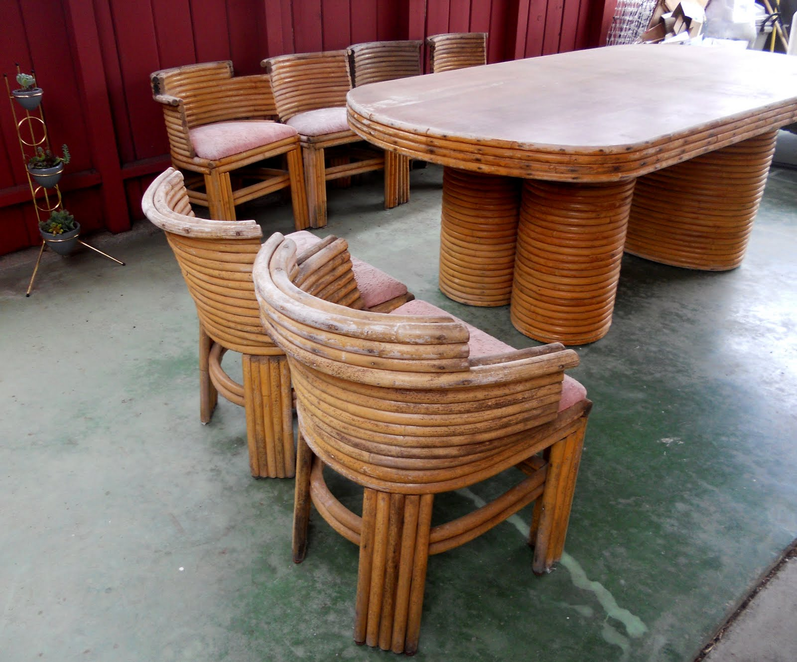 Vintage Engineer Boots: 1940'S / 1950'S RATTAN DINING ...