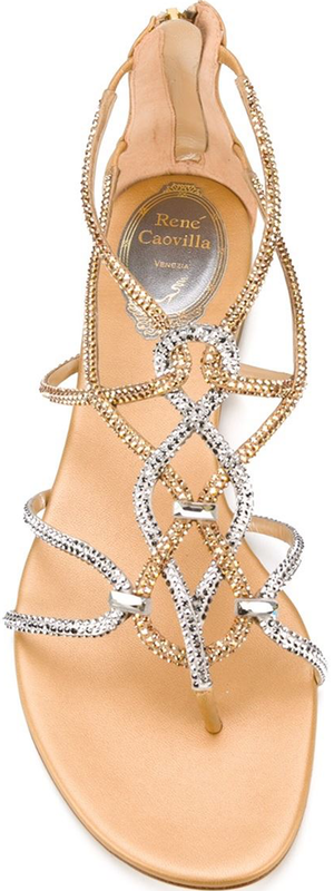 RENÉ CAOVILLA Strappy Sandals in Gold and Silver