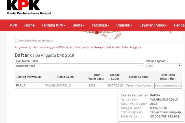 Dahsyat! Harta Bacaleg DPD Asal Papua Ini Capai Rp 20 Triliun