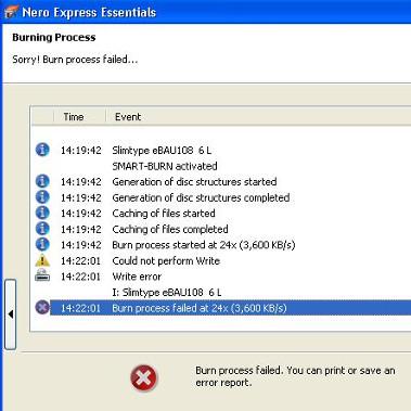 Nero Express Error: Burn Process Failed for Liteon_ebau108