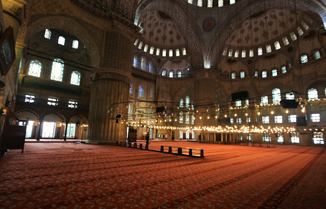 The praying hall at Blue Mosque in Sultanahmet Square in Istanbul, Turkey