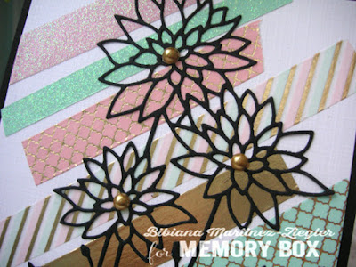washi tape detail with chrysanthemum flower die on card