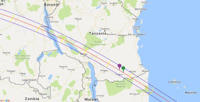 NASA Annular Solar Eclipse Map 2016 Tanzania