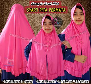 Jilbab syar'i pita permata model terbaru belah kiri kanan dan tengah