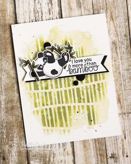 Panda Card by Holly Endress | Playful Pandas Stamp Set and Serene Stripes Stencil by Newton's Nook Designs #newtonsnook #handmade