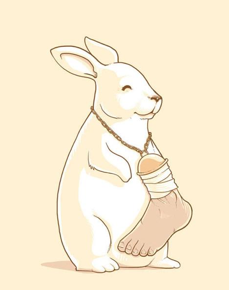 conejo con pata de humano para la suerte